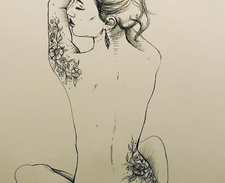 Des fleurs sur sa peau